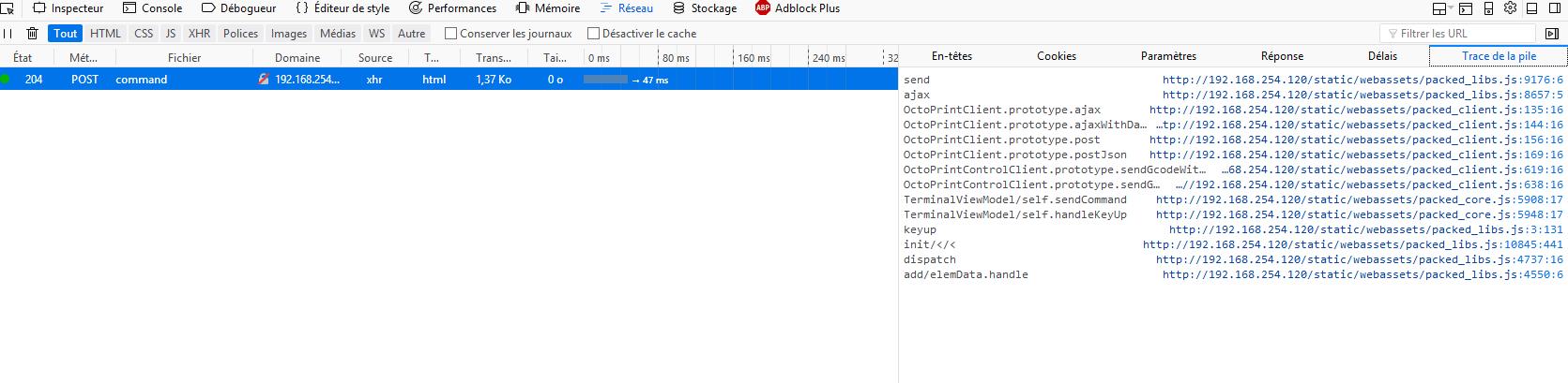 How terminal handle firmware response after sending Gcode