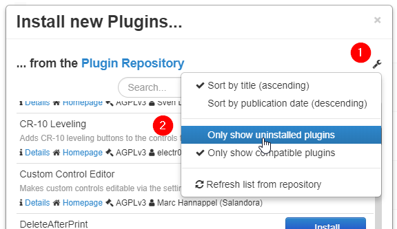 Installing a plugin shows me