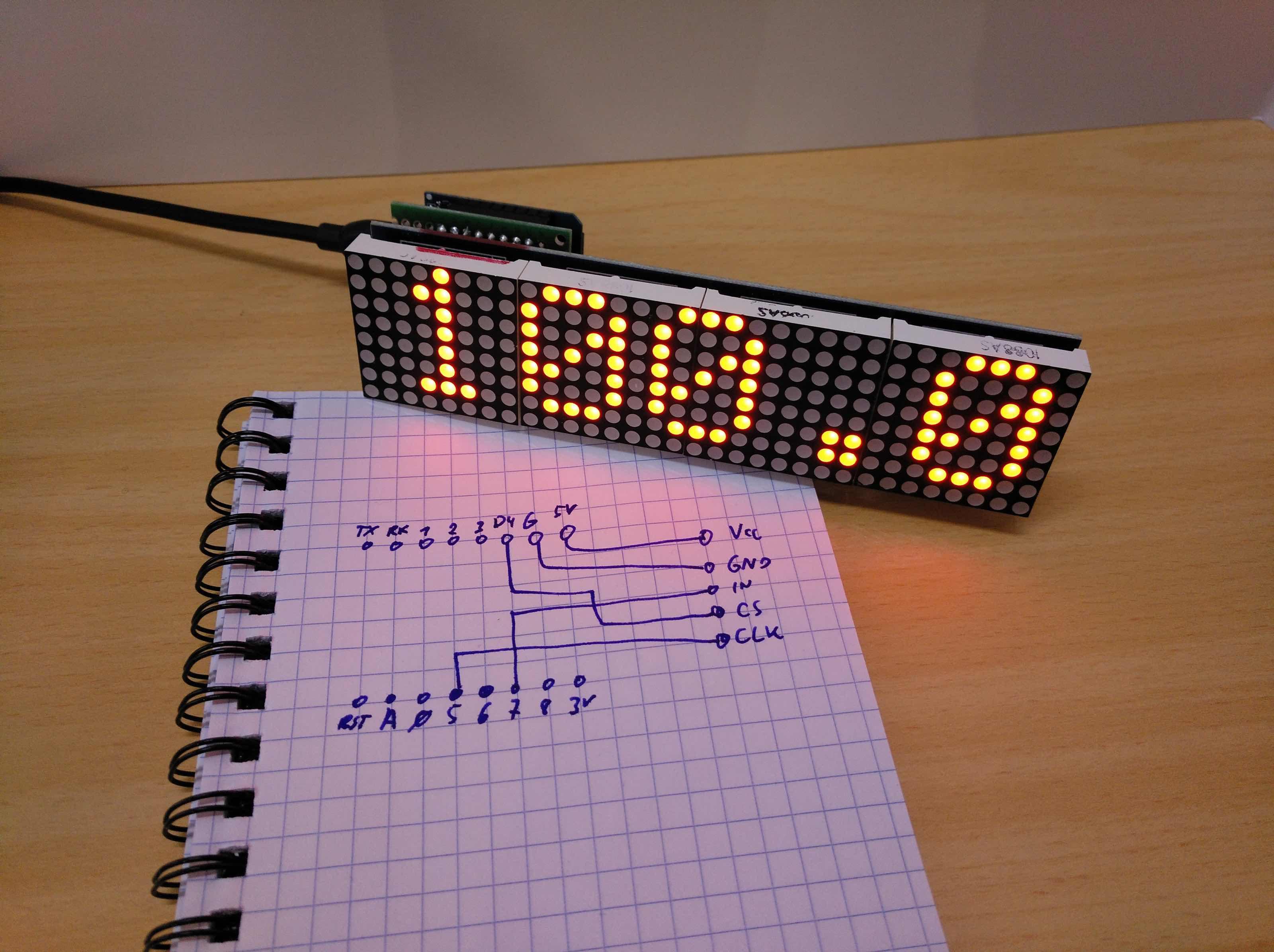 A wireless progress indicator (Arduino, ESP8266, MAX7219