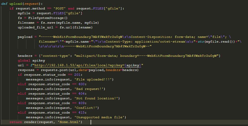File uploading problem in octoprint API url using Django Framework