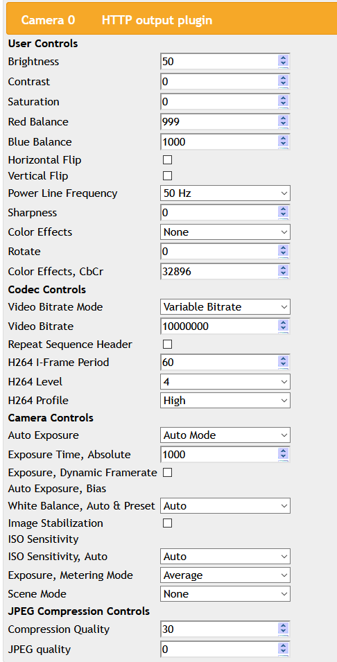 Controlling raspberry pi camera settings with active